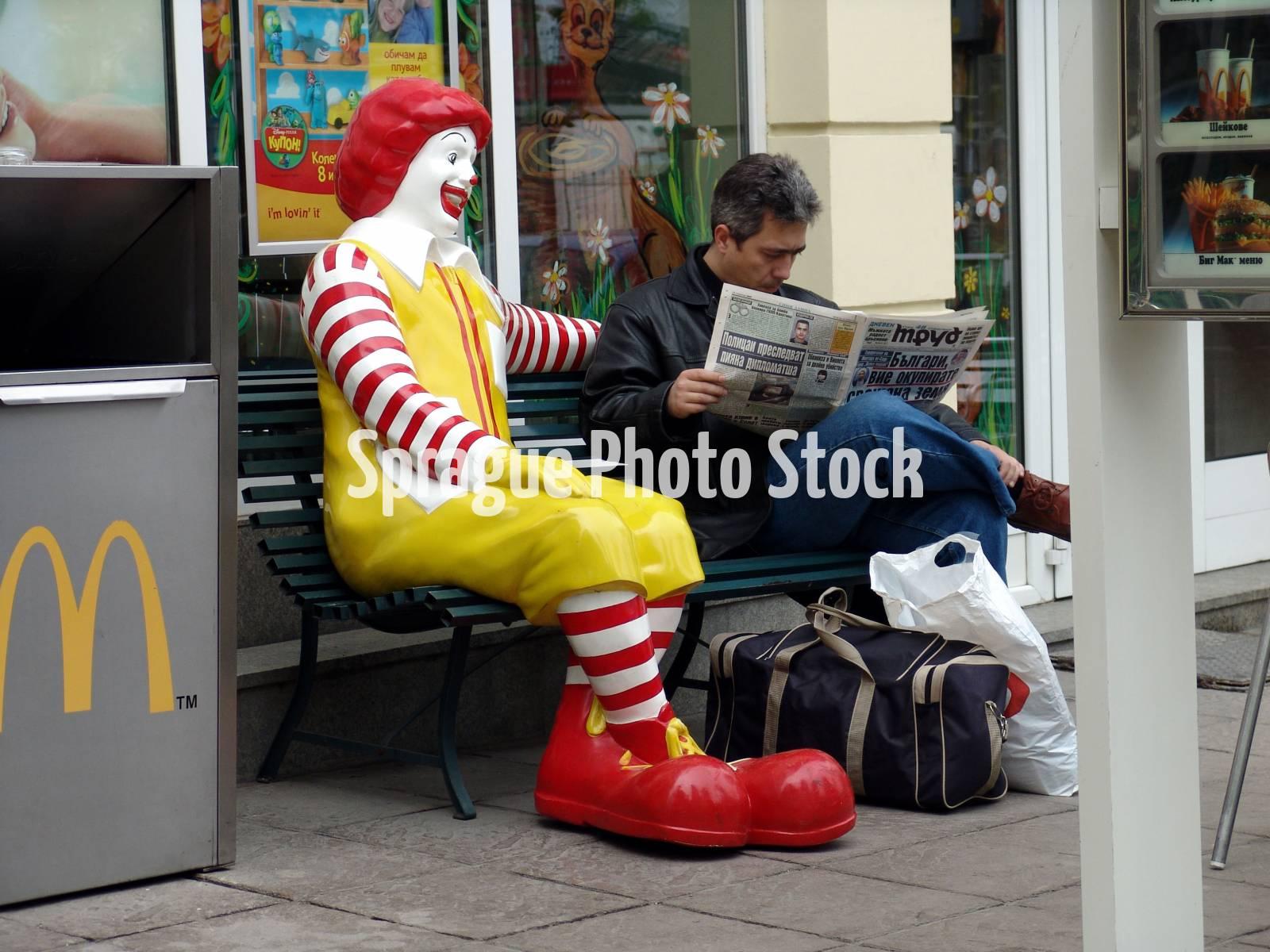 Ronald McDonald at MacDonalds restaurant, Sofia, Bulgaria.