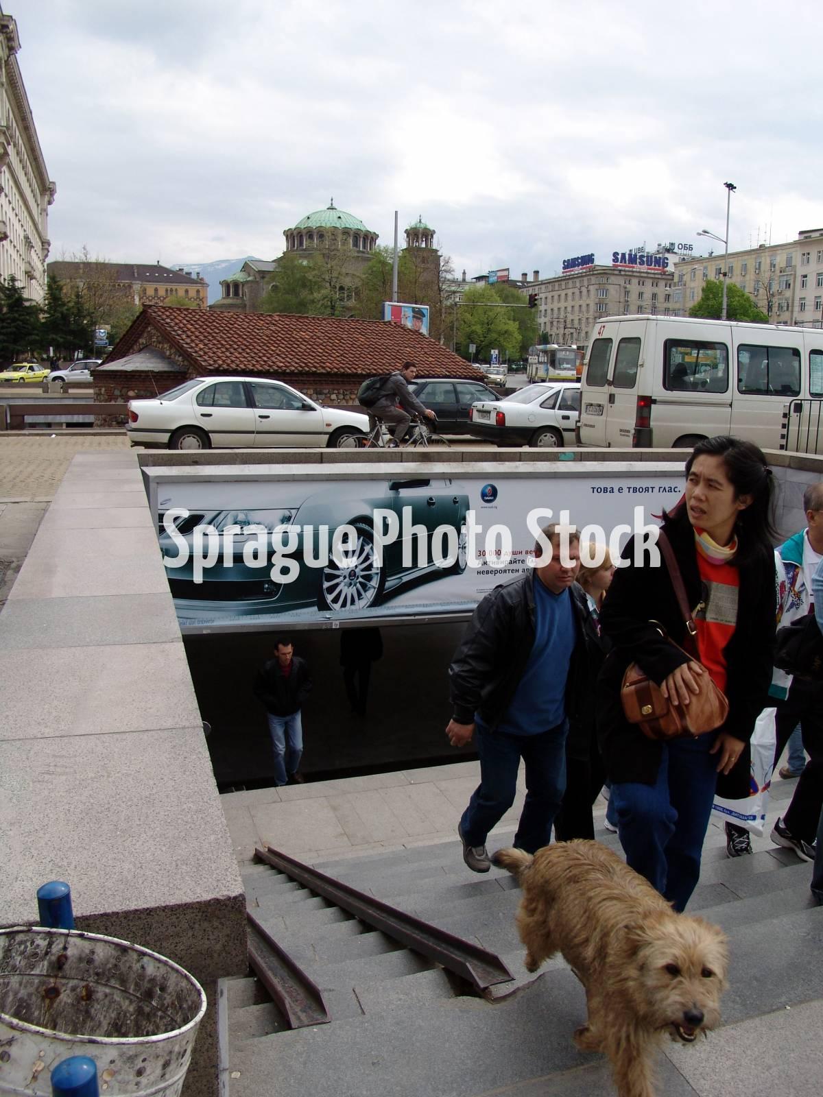 Subway entrance, Sofia, Bulgaria.