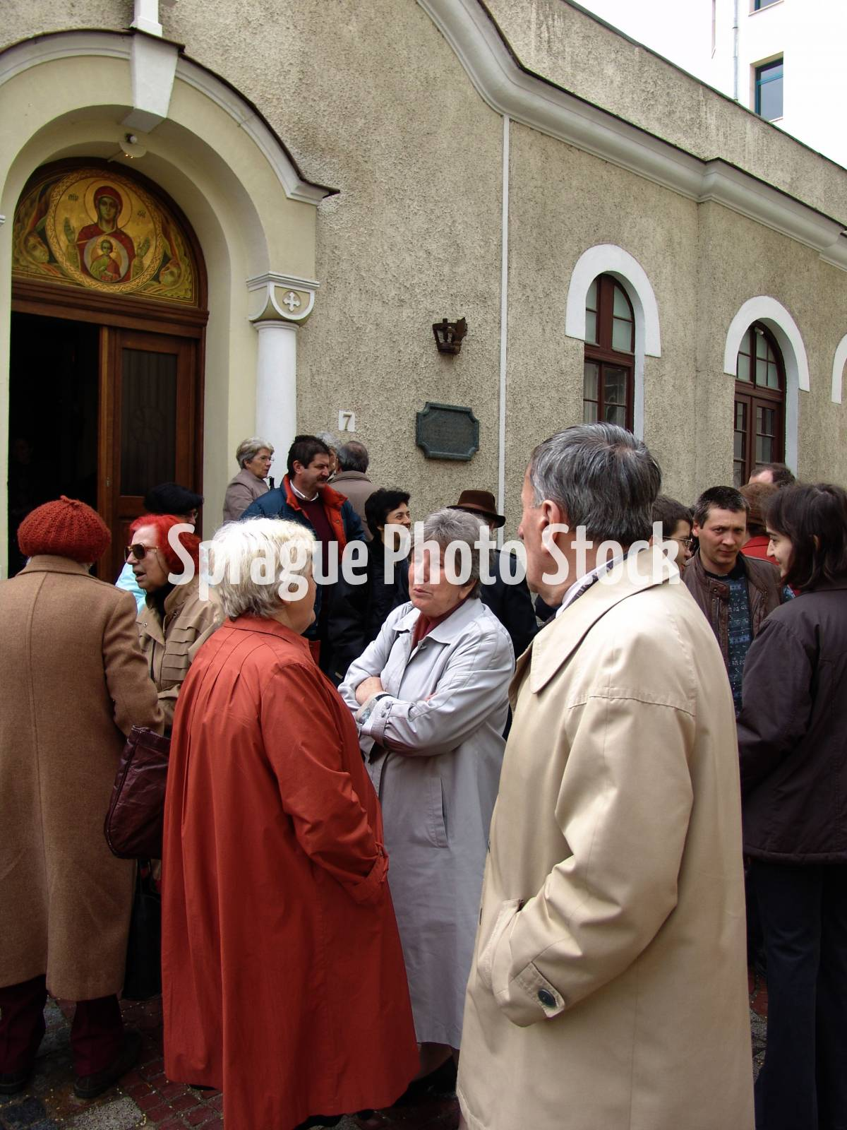 Congregation outside the Byzantine Catholic Assumption church, Sofia. Bulgaria.