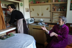 Home help at apartment of old lady in Sofia. Bulgaria.