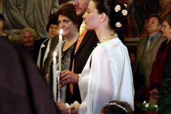 Wedding ceremony inside the Byzantine Catholic Assumption church, Sofia. Bulgaria.