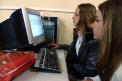 High school children using computers, Karlova, Bulgaria.